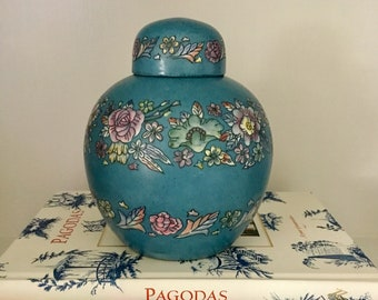 Vintage Blue Floral Ginger Jar