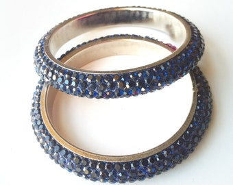 CLEARANCE SALE BRACELET, Indian Bangles,Blue Bangle Bracelets,Diva Bangles set of 2, Ethnic Bangles, Bridal accessories by Taneesi