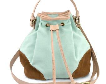 purse,bags,crossbody bag,cross body bag,leather trim drawstring bag,gift for women,bucket bag,leather bucket bag,handbag,cross body purse