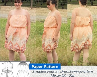 Strapless Sun Dress - Ladies Sizes, Women Sizes XS, S, M, L, XL, 2XL - Paper Printed Sewing Pattern, Adjustable Elastic Band, Waist Sash