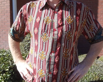 Men's Handmade Sari Silk Short Sleeve Button Down Dress Shirt - Size Medium - Red Black Southwestern Print - Guillermo G750