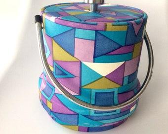 Mod 1960s Ice Bucket, Geometric Pattern