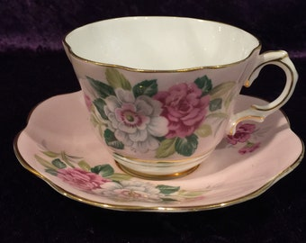 Vintage, Rosina,  Pink with Roses Teacup and Saucer