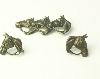 1930's Triple Horse Head Vintage Sterling Silver Brooch & Earrings Signed BB Fine Jewelry Gift For Her Horse Lover Gift Best Deal on Etsy