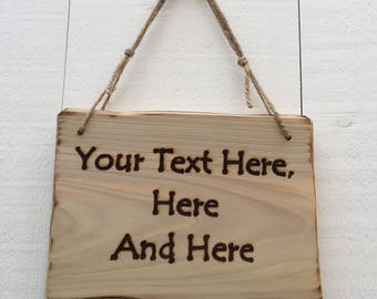 Handmade Rustic Driftwood Style Personalised Wooden Design Your Own Message Any Text Sign Plaque 20cm x 15cm
