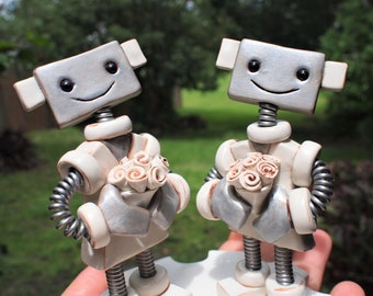 Robot Wedding Cake Topper READY TO SHIP Two Brides Female Female Gay Couple White Dresses (4 inches)