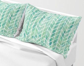 Caribbean green watercolor pattern pillow sham