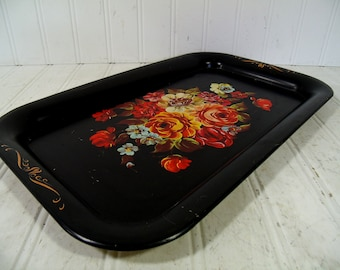 Black Metal Tray Vintage Painted Floral Retro Colorful Flowers Bouquet Toleware Decorative Tin Platter 14 x 9 Shabby BoHo Bistro Display