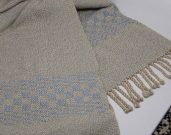 Cape/Shawl/poncho oatmeal/blue handwoven cotton