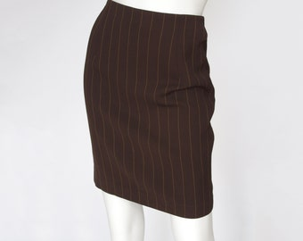 Burberrys 1990s Vintage Brown Pinstriped High Waisted Pencil Skirt Sz XS