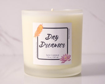 Aromatherapy Luxury Soy Candle - Day Dreamer - 7 oz - Natural Soy Candle - Pure Soy Candle - Hand Poured Candle - Spa Candle - Vegan Candle