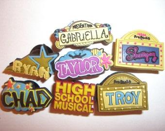 7 Disney High School Musical Button Shoe Charms for Jibbitz bracelets or Crocs shoes