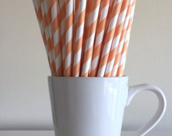 Peach Striped Paper Straws Light Coral Striped Party Supplies Party Decor Bar Cart Cake Pop Sticks Mason Jar Straws Graduation Party