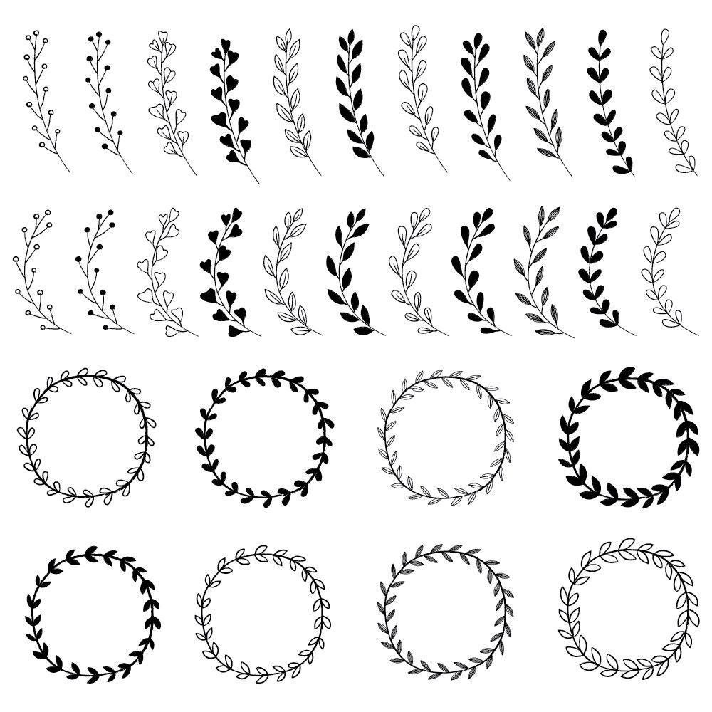 rustic wedding clipart bundle - wreaths  u0026 floral graphics - rustic boho clipart
