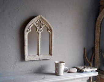 Triple arch over mantel church window mirror in antique for Double mirror effect