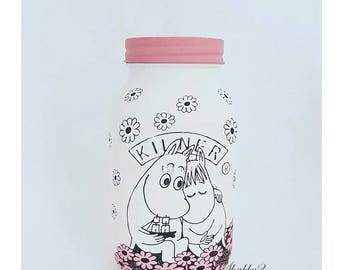 Moomins/90's/ Retro Kids/Birthday Gift/HomeDecor/Desk Tidy/Vase White/Pink Lid 1 Lire Kilner Jar Nursery Gift