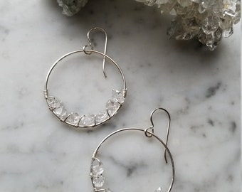 "1.25"" wide Herkimer diamond lined sterling silver hoops Pleiades seven sisters half moon small"