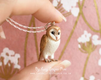 Hand-Sculpted Barn Owl Pendant with Chain