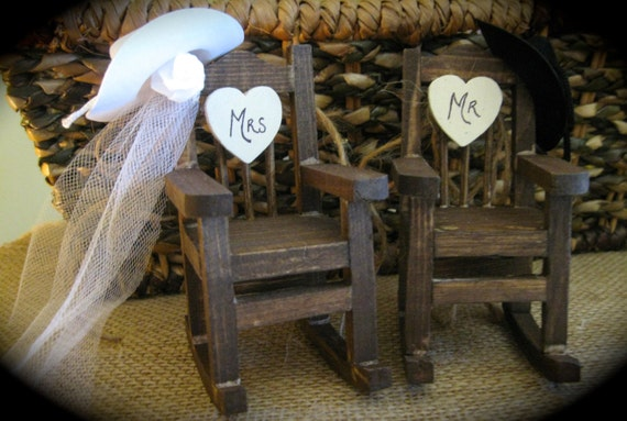 Rustic Country Western Mini Rocking Chair Cake Topper with Cowboy Hats and Veil