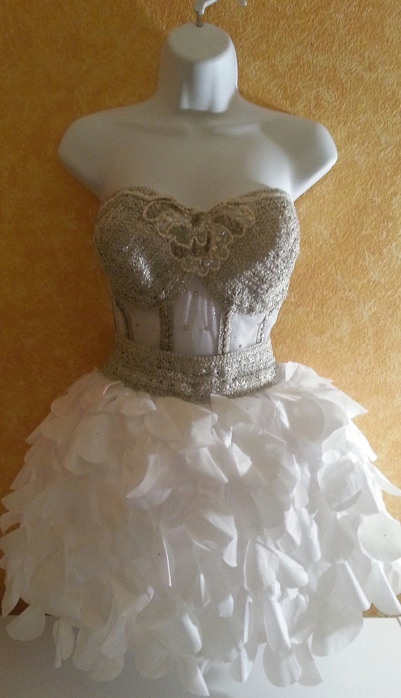 Bride Silver Taffeta Boned Dress Bridal Bejeweled And Stunning White Mini Tutu Victorian Sheer Vegas Bustier Petal Corset Wedding 5qXUP8