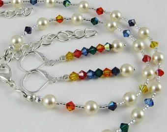 Everyday Elegance Birthday Party primary colors three piece Swarovski crystal and pearl set includes necklace bracelet and earrings
