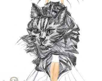 Molded Tulle Cat Dress