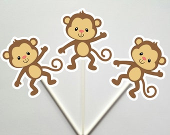 Monkey Cupcake Toppers, Monkey Baby Shower, Monkey Birthday