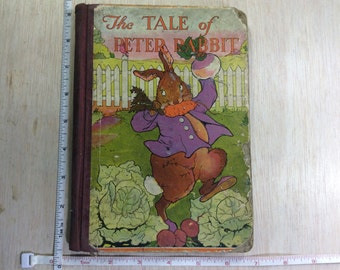 Vintage Old Antique Children's Book The Tale Of Peter Rabbit Abused By Child Used