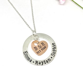 Heart Family Mother's Necklace - Copper Sterling Family Necklace - Mixed Metal Family Jewelry - Hand Stamped Mom Necklace - Personalized
