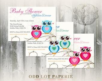 Twin Owls Baby Shower Printable Invitation, DIY baby shower invite, twins baby shower, girl, boy, multiples baby shower invite