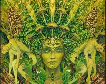 Dryad Forest Nymph Goddess Pagan Psychedelic Art ACEO Mini Print Pagan Mythology Psychedelic Bohemian Gypsy Goddess Art