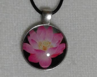 Bright Pink Lotus Flower Cabochon Glass Pendant on a Black Cord Necklace with Lobster Claw Clasp