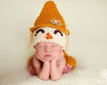 Baby Boy Scarecrow Hat CUTE Fall HALLOWEEN Newborn Baby Boy  Crochet knit Scare Crow Hat FREE Shipping