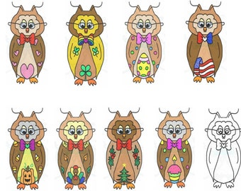 Holiday Owls Digital Clip Art Hand Drawn Instant Download Digital Artwork Valentines Animals bird Thanksgiving Christmas Easter USA St Patty