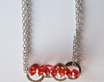 Necklace silver Rock Crystal Red