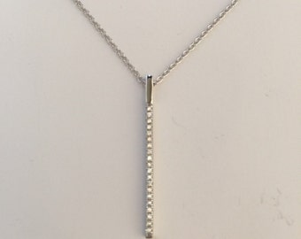 Bar necklace,straight bar necklace,925 sterling silver CZ straight bar pendant necklace