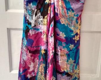 Nicole Miller dress metallic silk summer beach designer size 4
