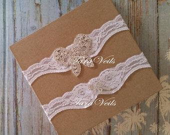 Wedding /Bridal /Rhnestone Bow/Swarovski Rhinestone Garter/ Rhinestone Garter/ wedding garters / bridal garter/ lace garter / Vintage Garter