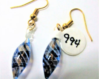 Blue Delicate Oblong Decorated Earrings On Goldtone Earlobe Hangers - Item 994 E