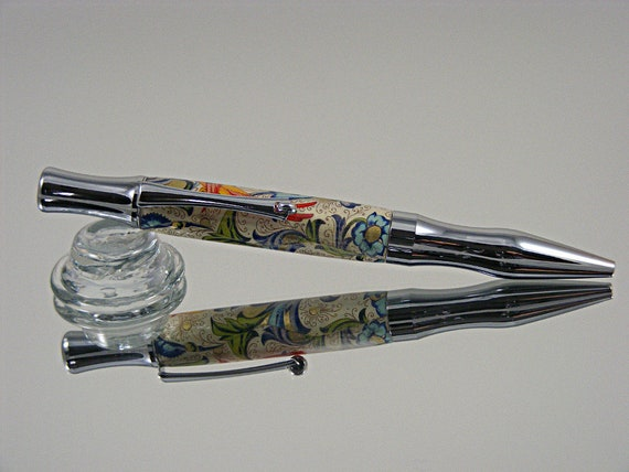 Handcrafted Ergonomic Ink Pen in Chrome and Florentine Floral Acrylic
