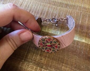 Mandala Bracelet - Pink Leather Cuff Bracelet - Red ,green and Yellow Mandala - Gypsy Bracelet - Pastel Pink Distressed Leather