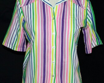 1960s Short Sleeve Blouse Sz 10 Vintage Retro
