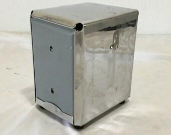 Vintage double sided napkin holder metal holder dispenser silver cafe diner