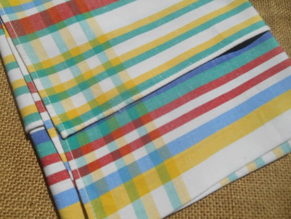 Country Side Striped French Kitchen Towel Multicolored Lines Red Green Blue Yellow Rustic Dish Cloth #sophieladydeparis