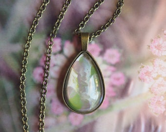 Green Pendant, Abstract Jewelry, green and grey, tear drop pendant, vintage copper, organza ribbon, glass cabochon, pastel color, soft green