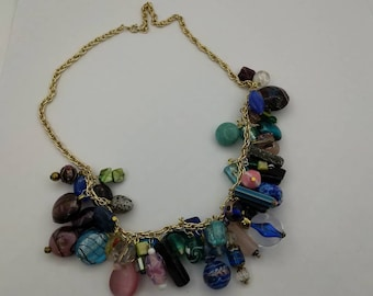 Glass Fruit Salad  Beaded Necklace Eames Era beautiful glass