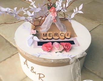 personalized urn Bohemian wedding tipi