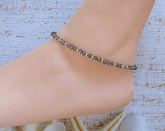 Anklet made with Swarovski Elements Crystals (Black Diamond) and Sterling Silver