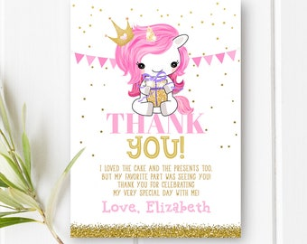 Pony Unicorn Birthday Thank You Girl First Birthday Thank You Card 1st Birthday Thank You Note Printable Pink And Gold Birthday Thank You