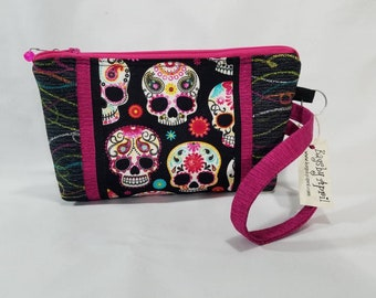 Sugar Skull Day of the Dead Calavera clutch with zipper wristlet bag small zippered cosmetic pouch purse